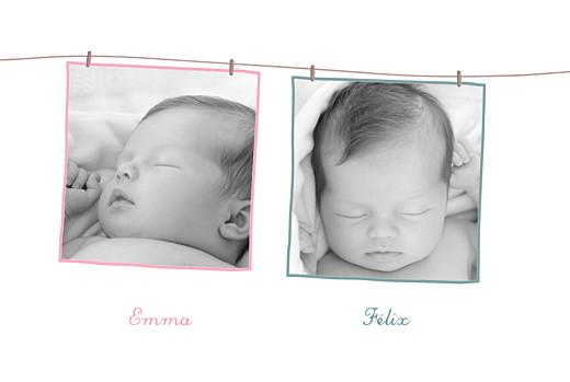 Faire-part de naissance Fil à linge jumeaux mixte rose vert - Page 2