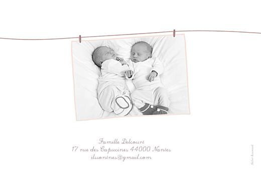 Faire-part de naissance Fil à linge jumeaux mixte rose vert