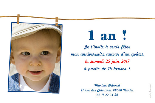 Carte d'anniversaire Fil à linge bleu - Page 2