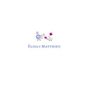 Faire-part de mariage Floraison bleu rose