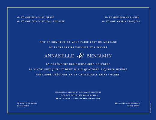 Faire-part de mariage Classique liseré bleu