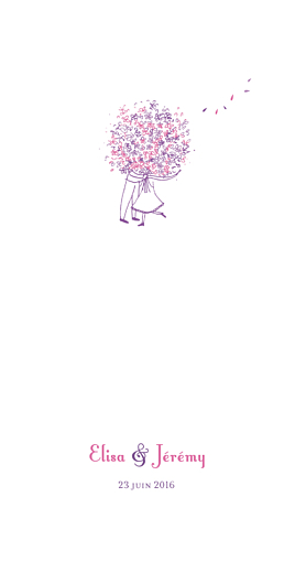 Menu de mariage Bouquet (4 pages) lilas