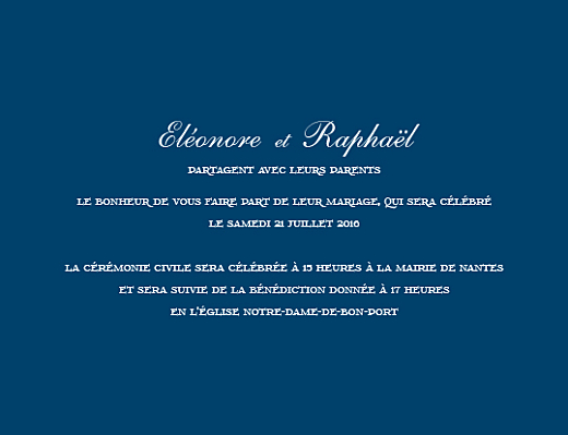 Faire-part de mariage Elégant (grand format) bleu marine