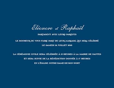 Faire-part de mariage Elégant (grand format) bleu marine finition
