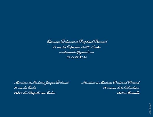 Faire-part de mariage Elégant (grand format) bleu marine - Page 2