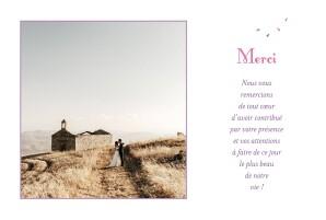 Carte de remerciement mariage Bouquet simple lila