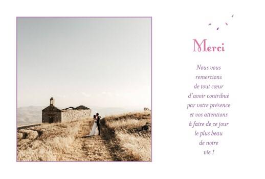 Carte de remerciement mariage Bouquet simple lila - Page 1
