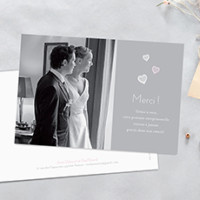 carte de remerciement mariage coeurs - Photo Remerciement Mariage