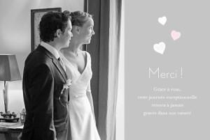 Carte de remerciement mariage Coeurs gris pâle