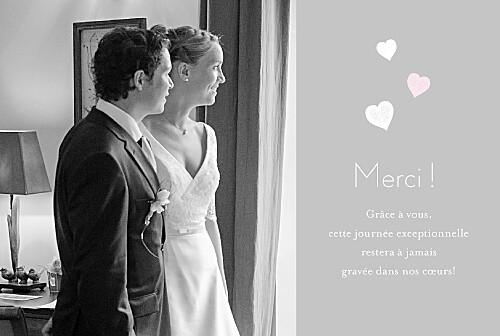 carte de remerciement mariage coeurs gris ple - Photo Remerciement Mariage
