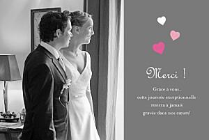 Carte de remerciement mariage gris coeurs gris rose