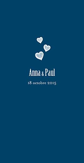 Menu de mariage Coeurs (4 pages) bleu marine