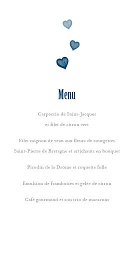 Menu de mariage Coeurs (4 pages) bleu marine - Page 3