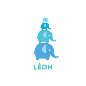 Faire-part de naissance Pyramide 4 elephants bleu