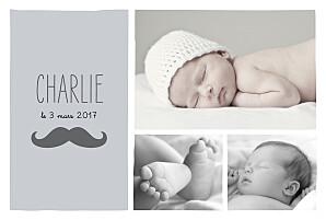 Faire-part de naissance gris moustache paysage 3 photos gris
