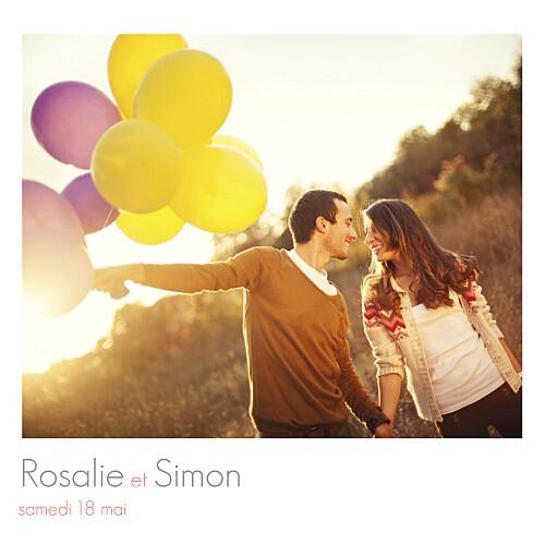 Faire-part de mariage Moderne 3 photos blanc
