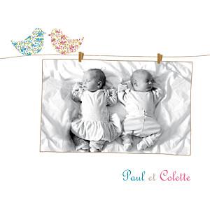 Faire-part de naissance jumeaux poétique jumeaux mixte
