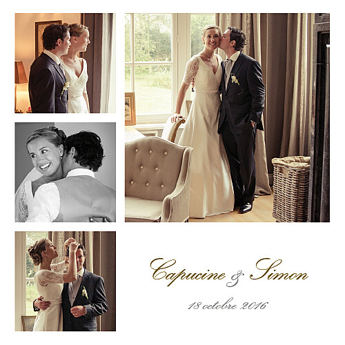 Carte de remerciement mariage Classique 6 photos blanc