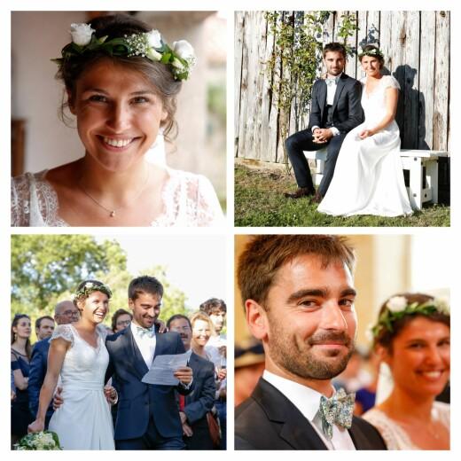 Carte de remerciement mariage Petit simple 4 photos blanc