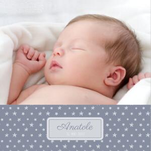 Faire-part de naissance Nuit étoilée 2 photos bleu gris