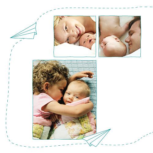 Faire-part de naissance Origami avion turquoise - Page 2