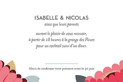 Carton d'invitation mariage Jardin bohème rouge finition