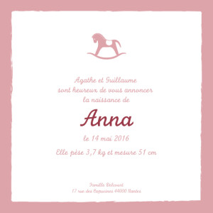 Faire-part de naissance Petit cheval vieux rose