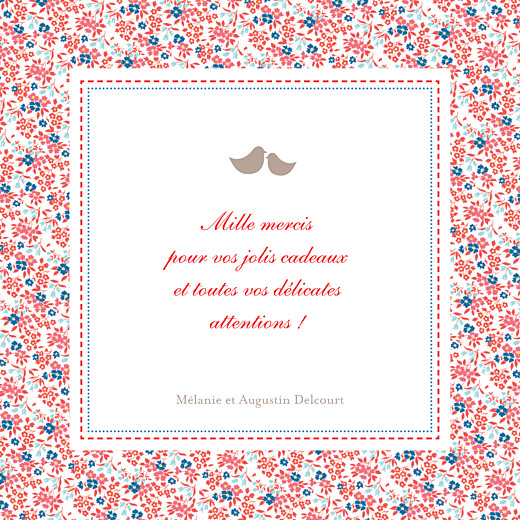 Carte de remerciement Merci liberty photo rouge