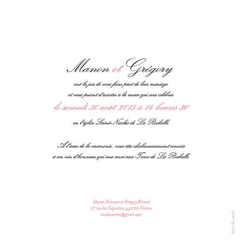 Faire-part de mariage Gourmand raffiné rose
