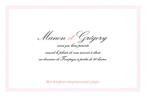 Carton d'invitation mariage Gourmand raffiné rose - Page 2