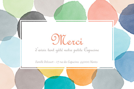 Carte de remerciement Merci aquarelle photo orange