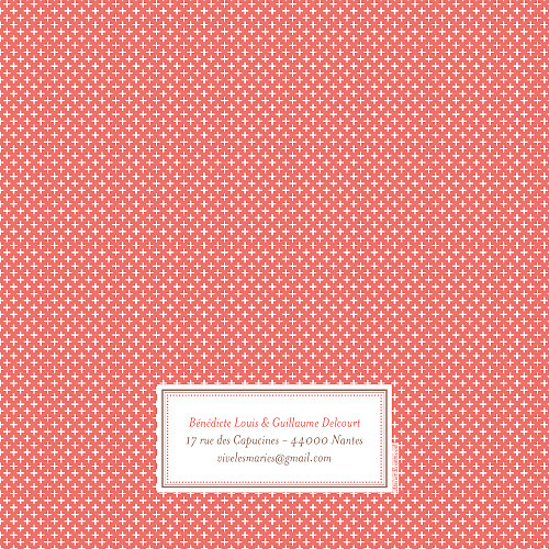 Faire-part de mariage Motif chic (4 pages) corail