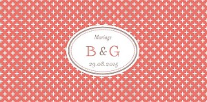 Marque-place mariage Motif chic corail