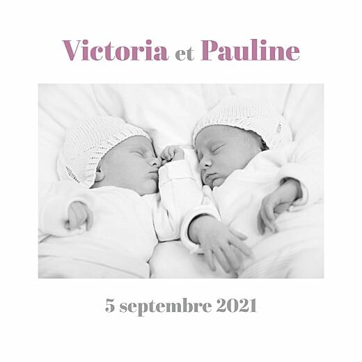 Faire-part de naissance Jumeaux 4 photos blanc