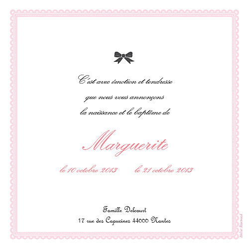 Faire-part de naissance Versailles rose - Page 2