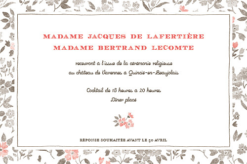 Carton d'invitation mariage A cup of tea corail - Page 1