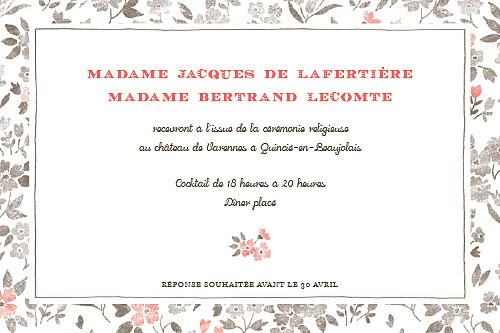 Carton d'invitation mariage A cup of tea corail