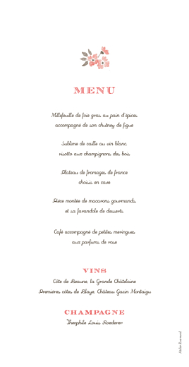 Menu de mariage A cup of tea corail