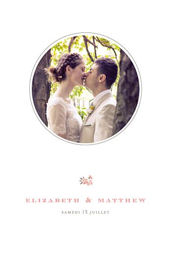 Carte de remerciement mariage A cup of tea corail