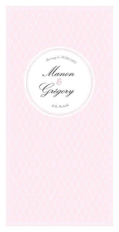 Menu de mariage Gourmand raffiné rose finition