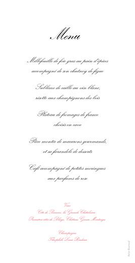 Menu de mariage Gourmand raffiné rose