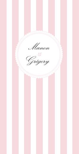 Menu de mariage Gourmand rayé rose