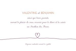 Carton d'invitation mariage Tendresse violet