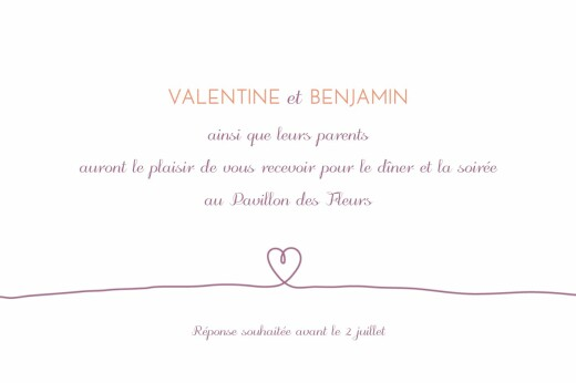 Carton d'invitation mariage Tendresse violet - Page 1