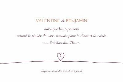 Carton d'invitation mariage Tendresse violet finition