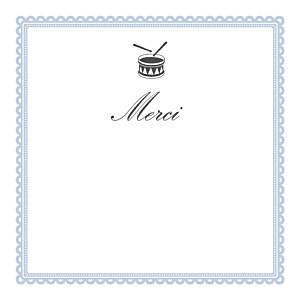 Carte de remerciement Petit tambour photo bleu gris