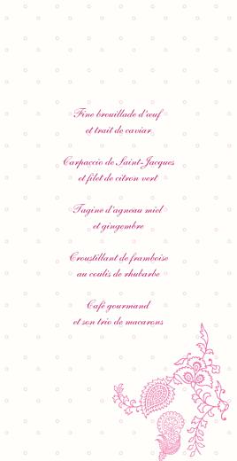 Menu de mariage Plumetis (4 pages) framboise