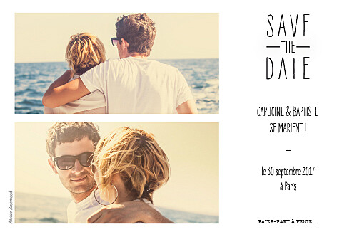 Save the Date Toi & moi (paysage) blanc