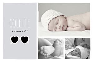 Faire-part de naissance noir et blanc chérie paysage 3 photos gris blanc