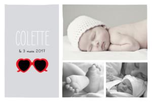 Faire-part de naissance Chérie paysage 3 photos gris rouge